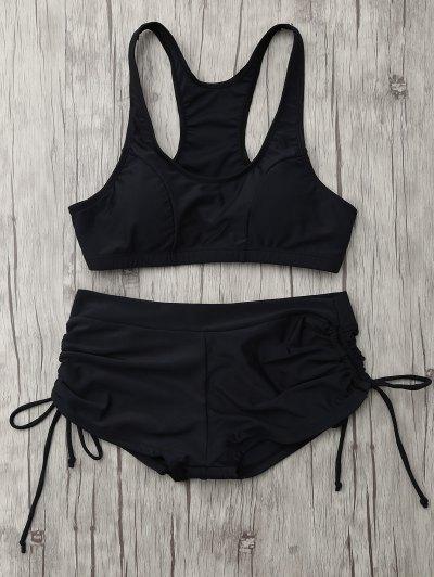 Lace Up Padded Sporty Bikini Set - BLACK XL Mobile