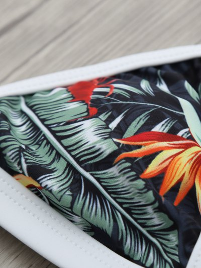 Halter Leaf Printed Bikini Set - BLACK L Mobile