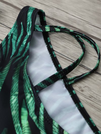 Printed Underwire Strappy Bikini - GREEN XL Mobile