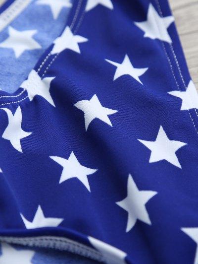 Halter Flag Print Wrap Bikini Set - BLUE M Mobile