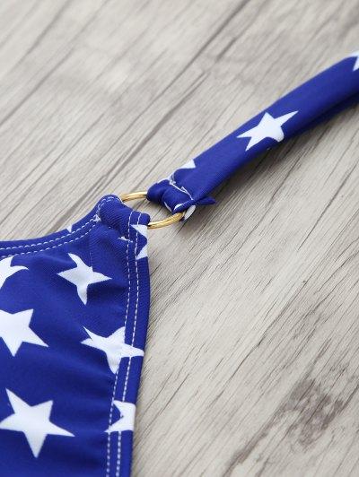 Halter Flag Print Wrap Bikini Set - BLUE S Mobile