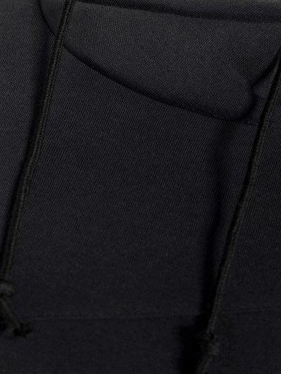 High Neck Drawstring Hoodie - BLACK L Mobile