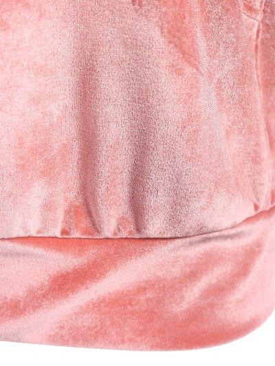 Hooded Long Sleeve Velvet Casual Dress - PINK XL Mobile