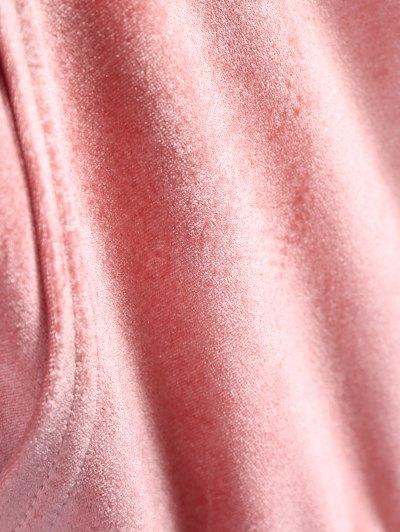 Hooded Long Sleeve Velvet Casual Dress - PINK L Mobile
