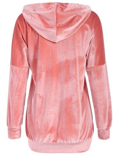 Hooded Long Sleeve Velvet Casual Dress - PINK M Mobile