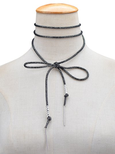 Artificial Leather Rope Bows Choker - BLACK  Mobile