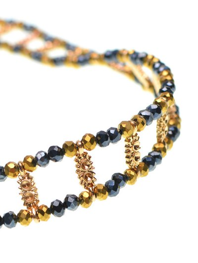 Vintage Beaded Rhinestone Necklace - GOLDEN  Mobile