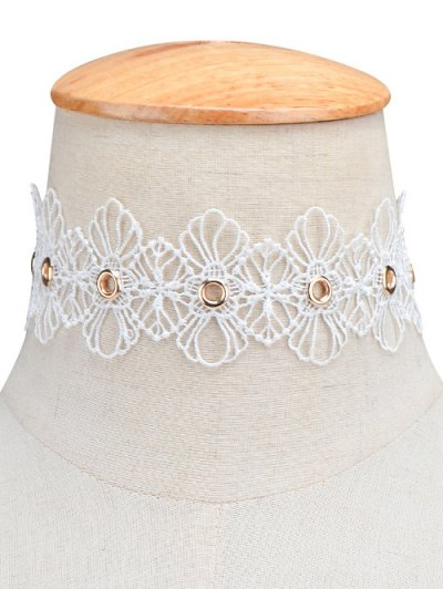 Openwork Floral Choker - WHITE  Mobile