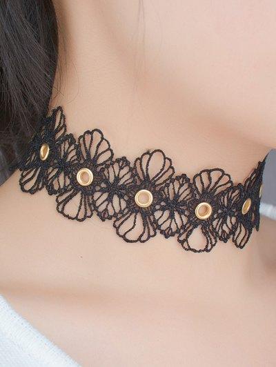 Openwork Floral Choker - BLACK  Mobile