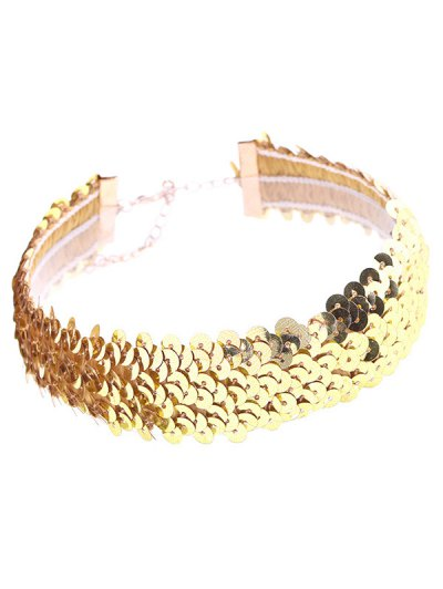 Sequin Wide Choker - GOLDEN  Mobile