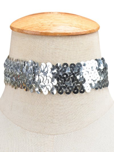 Sequin Wide Choker - SILVER  Mobile