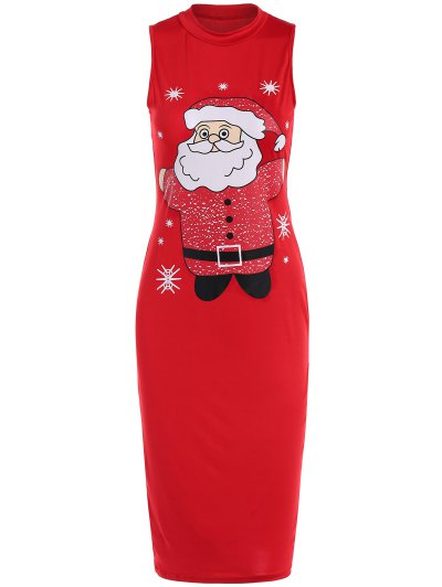 Christmas Santa Clause Midi Dress - RED L Mobile