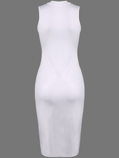 Christmas Santa Clause Midi Dress - WHITE L Mobile