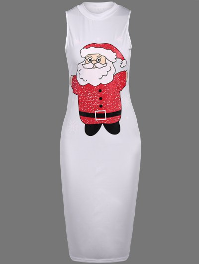 Christmas Santa Clause Midi Dress - WHITE M Mobile