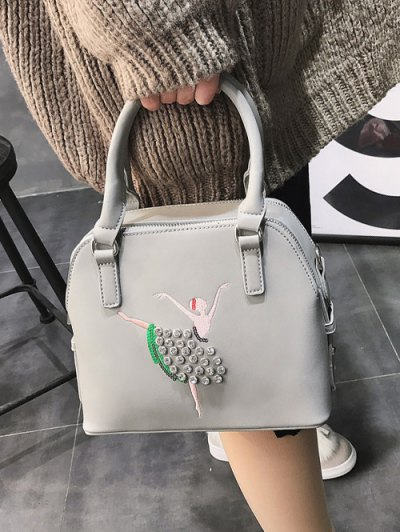 Sequined Rhinestones Zipper Tote Bag - LIGHT GRAY  Mobile