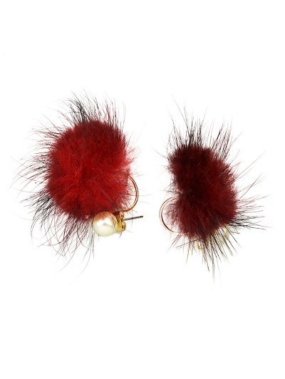 Fuzzy Ball Earrings - RED  Mobile