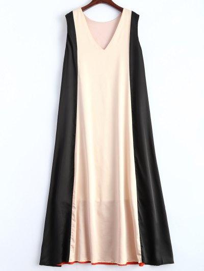 Color Block V Neck Trapeze Maxi Dress - MULTICOLOR M Mobile