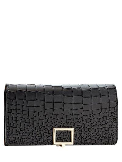 Stone Pattern Tri Fold Wallet - BLACK  Mobile