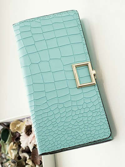 Stone Pattern Tri Fold Wallet - TIFFANY BLUE  Mobile