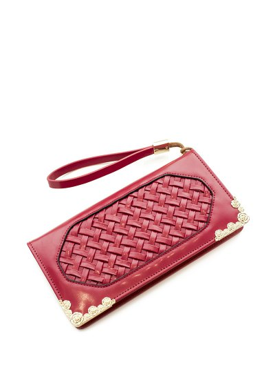 Woven PU Leather Clutch Wallet - RED  Mobile