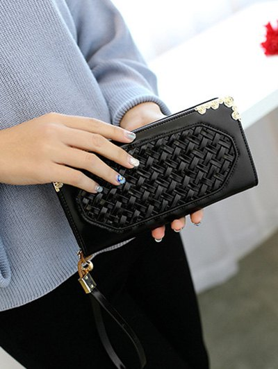 Woven PU Leather Clutch Wallet - BLACK  Mobile