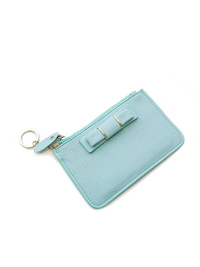 Bowknot PU Leather Coin Purse - TIFFANY BLUE  Mobile