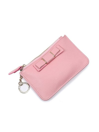Bowknot PU Leather Coin Purse - PINK  Mobile