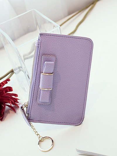 Bowknot PU Leather Coin Purse - PURPLE  Mobile