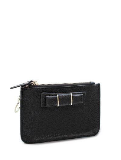Bowknot PU Leather Coin Purse - BLACK  Mobile