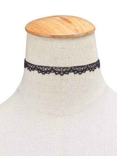 Lace Hollowed Choker - BLACK  Mobile