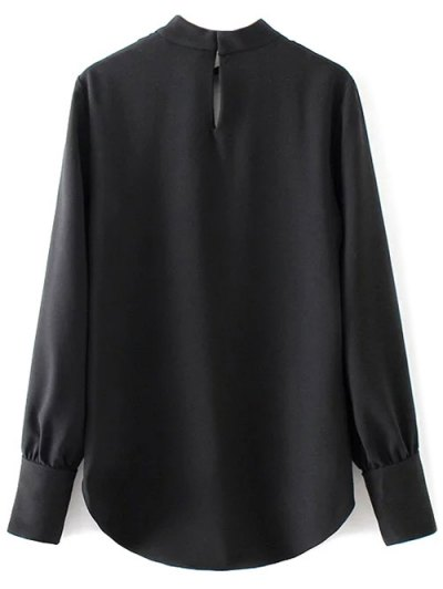 High Low Choker Blouse - BLACK L Mobile