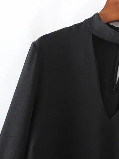 High Low Choker Blouse - BLACK S Mobile