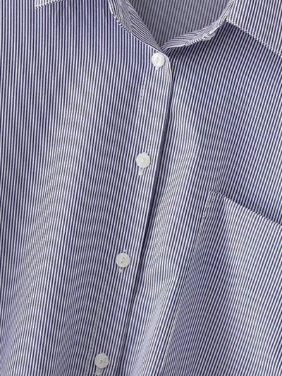 Striped Printed High-Low Shirt - BLUE M Mobile