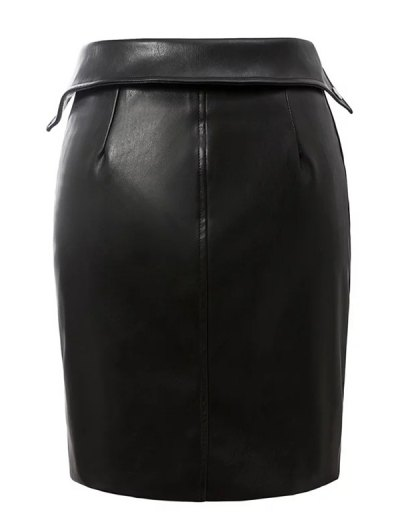 PU Leather Zippered Bodycon Skirt - BLACK L Mobile