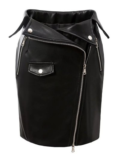 PU Leather Zippered Bodycon Skirt - BLACK M Mobile