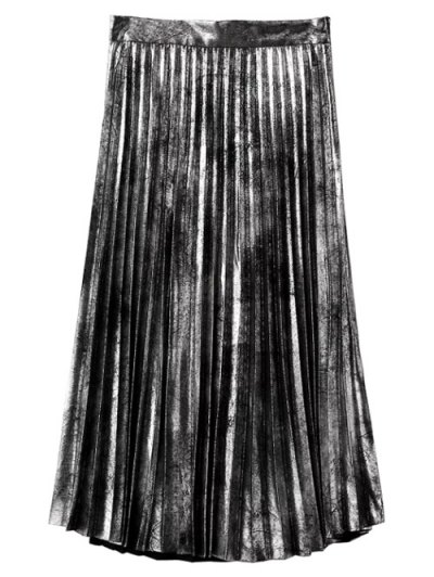 Hot Fix Pleated Skirt - SILVER L Mobile
