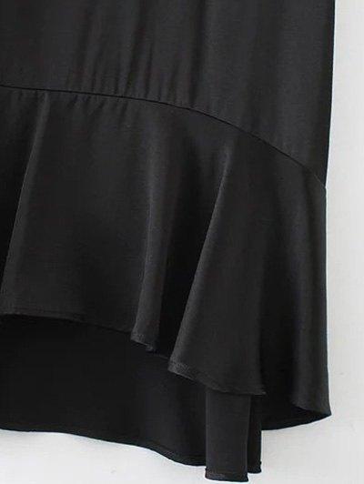 Flounced Floral Embroidered A-Line Dress - BLACK L Mobile