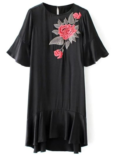 Flounced Floral Embroidered A-Line Dress - BLACK S Mobile