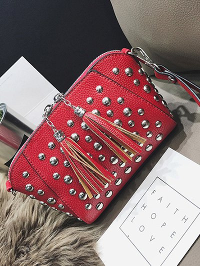 PU Leather Tassel Studded Clutch Bag - RED  Mobile