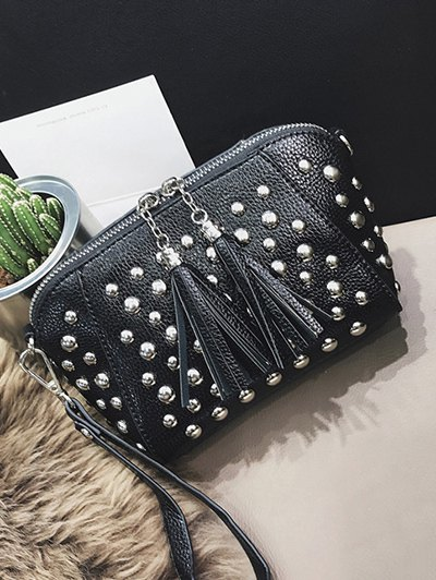 PU Leather Tassel Studded Clutch Bag - LIGHT GRAY  Mobile