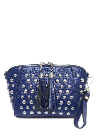 PU Leather Tassel Studded Clutch Bag - BLUE  Mobile