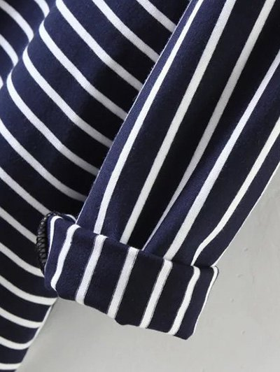 Oversized Striped T-Shirt - PURPLISH BLUE S Mobile