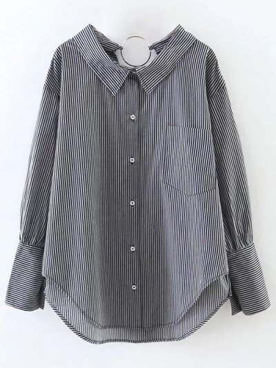 Striped Oversized High-Low Shirt - BLACK L Mobile