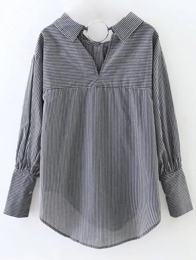 Striped Oversized High-Low Shirt - BLACK M Mobile