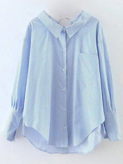 Striped Oversized High-Low Shirt - BLUE L Mobile