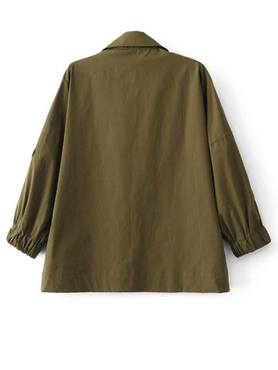 Half Zip Patched Blouse - ARMY GREEN S Mobile