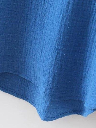 Batwing Curved Hem Blouse - BLUE L Mobile