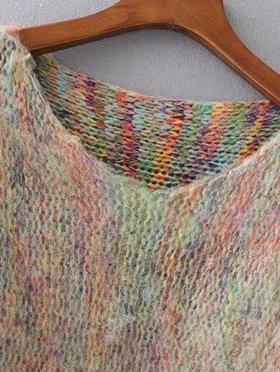Oversized Fringed Sweater - KHAKI ONE SIZE Mobile