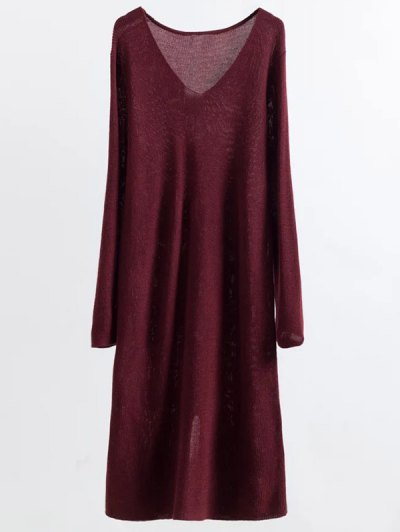 Long Sleeve Knitting Midi Dress - WINE RED ONE SIZE Mobile