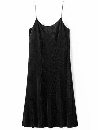 Ruched Vintage Midi Dress - BLACK L Mobile